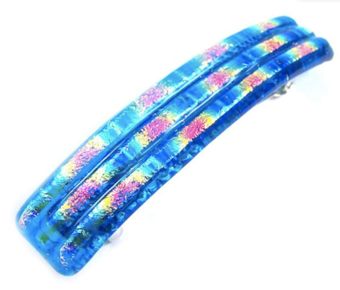 3.5  90mm Blue Sapphire Cobalt Striped Patterned Lines Reed Fused Glass Metallic Iridescent Slide Hair Clip Dichroic Glass Barrette