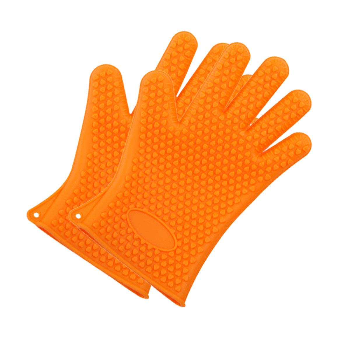 ANPI Silicone Gloves, Heat Resistant Gloves for Cooking Grilling BBQ Baking, Full Finger Durable Hands Protection (Orange)