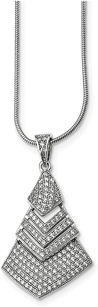 Lex /& Lu Sterling Silver CZ Brilliant Embers Necklace 18 LAL114231