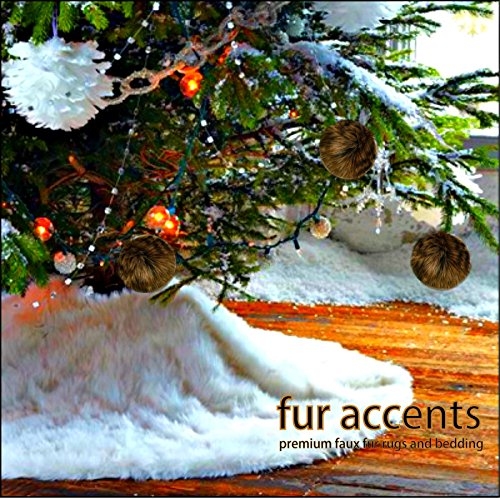 Classic Faux Fur Christmas Tree Skirt - Shaggy Shag Faux Sheepskin Round - White or Off White by Fur Accents - USA (6' Round, White) by Fur Accents (Image #2)