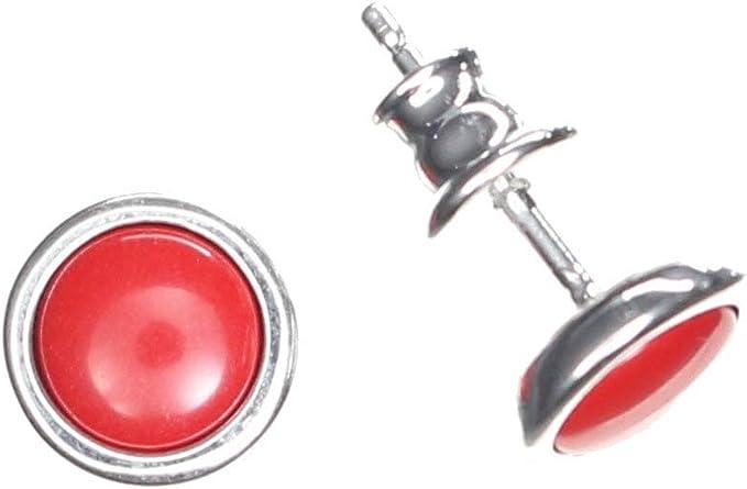 Ohrstecker Schaum Koralle  6 mm 8 mm 10 mm 925 Silber rund Ohrringe rot
