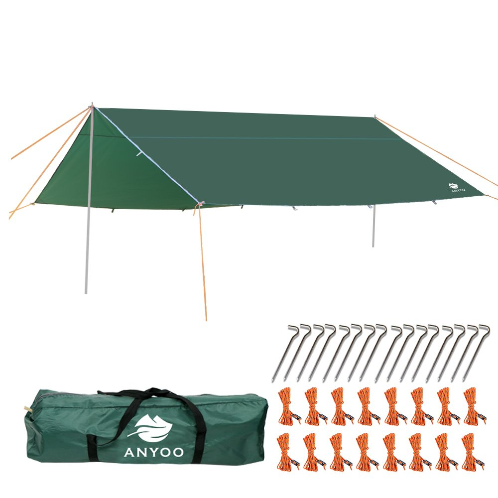 Anyoo Camping Tarp Shelter Lightweight Hammock Rain Fly Waterproof Durable Portable Compact for Fishing Beach Picnic