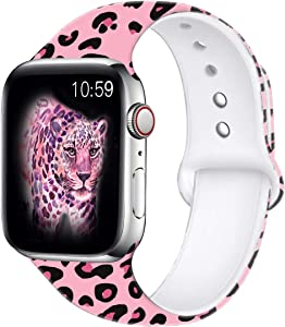 Wolait Compatible with Apple Watch Bands 38mm 40mm 42mm 44mm, Silicone Fadeless Pattern Printed Replacement Sport Band for iWatch Series 6/5/4/3/2/1/SE Women Men -Pink Leopard
