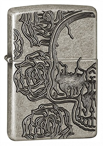 Zippo Skull and Flowers Armor Pocket Lighter, Antique Silver Plate