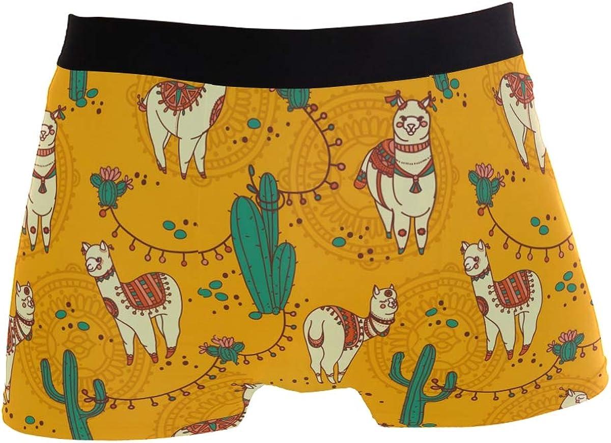 Mkuell Alpaca Llama Comfortable Mens Boxer Briefs Multi-Size Soft Underwear S
