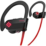 Wireless Bluetooth Headphones Waterproof IPX7, Best Sport In Ear Earbuds Earphones w/Remote and Mic HiFi Stereo Richer Bass, 9 Hrs Playback Noise Cancelling Headsets(Upgraded)