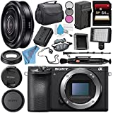 Sony Alpha a6500 Mirrorless Digital Camera (Body) ILCE6500/B + Sony E 20mm f/2.8 Lens SEL20F28 + NP-FW50 Replacement Lithium Ion Battery + External Rapid Charger + Deluxe Cleaning Kit Bundle