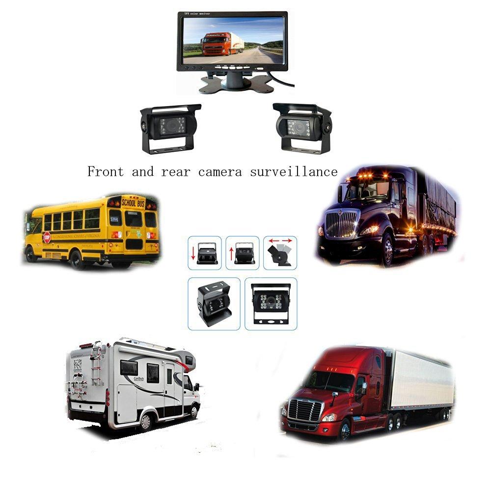 2 x C/ámaras de Visi/ón Trasera IR LED Visi/ón Nocturna para Camiones Bus RV Podofo/® C/ámaras de Marcha Atr/ás 7 Pulgadas TFT LCD Monitor