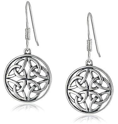 Sterling Silber keltischer Knoten Rund Drop Draht Ohrringe, groß ...