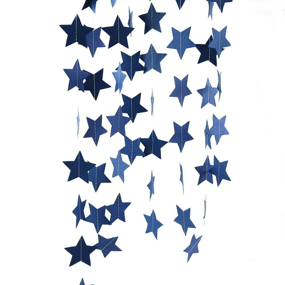 Furuix 2pcs Mini Navy Blue Paper Star Garland Star String for Hanging Décor Wedding Baby Shower Party Decoration Outer Space Decor Birthday Decoration