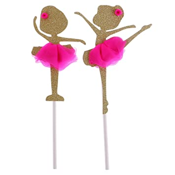 f76006903 Image Unavailable. D DOLITY Pink Gold Ballerina Tutus Cake Topper for Girls  Princess Birthday Decoration