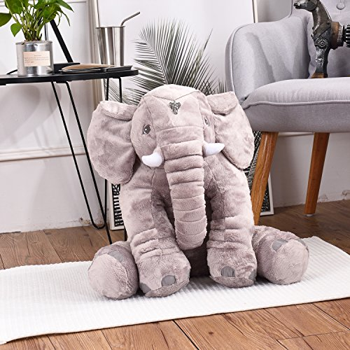 LACALA Large/Big Stuffed Animals Soft Elephant Plush Toy, Gray 24 Inch,for Children/Boys/Girls/Christmas/Valentine