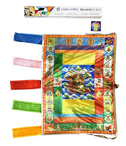 Mudra Crafts Tibetan Buddhist Indoor Outdoor Satin Windhorse Vertical Prayer Flags (Gesar)