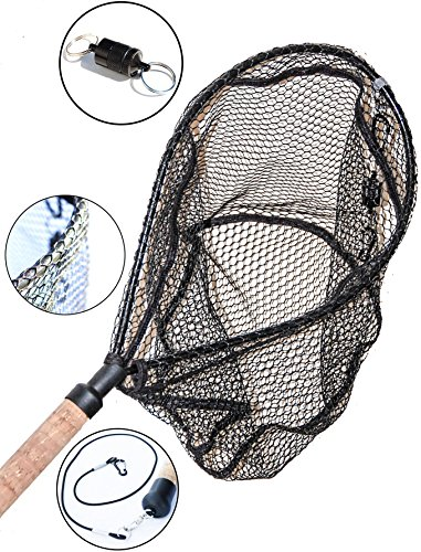 ActionSports Fishing Net - 4in1- Rubber Coated Netting - Magnetic Quick Release - Cork Handle - Safety Lanyard