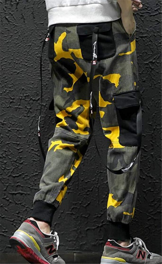 Domple Men Camo Print Casual Hip Hop Multi Pockets Jogger Cargo Pants Black M by Domple (Image #3)