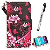JITTERBUG SMART (5.5' SCREEN) Wallet, JITTERBUG SMART (5.5' SCREEN) Wallet PU Leather Case Premium Pouch ID Credit Card Cover Flip Folio Book Style with Money Slot (HEART SAKURA WALLET)