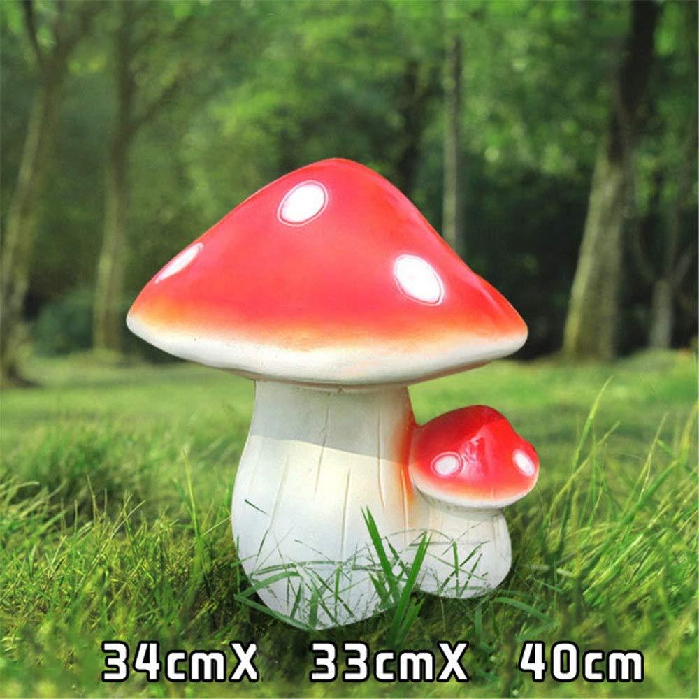 Crystalzhong-FP Garden Ornaments Statue Mushroom Decor - Resin Figurine Animal Sculpture Log Outdoor, Housewarming Gift (Color : Red, Size : B)