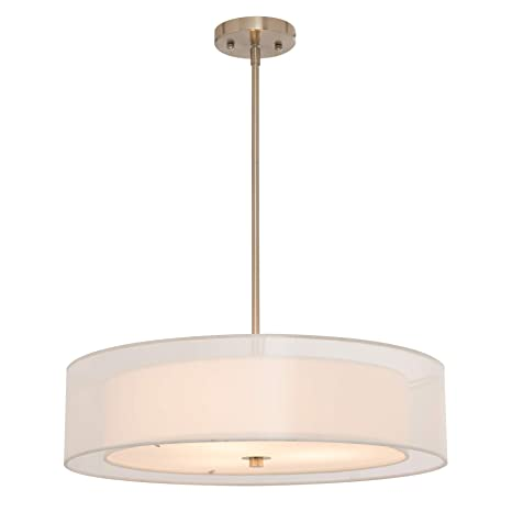 CO Z 3 Light Brushed Nickel Double Drum Pendant Chandelier Convertible Semi Flush