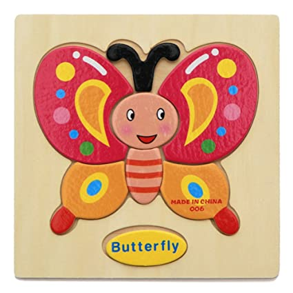 Alician Toy Children Cartoon Wooden Intelligence Jigsaw Puzzle Toy Animal Transportation Cognize Hands Grip Toy Butterfly
