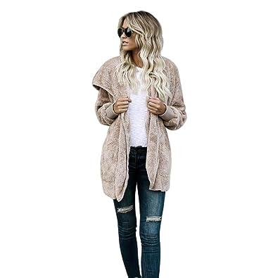 Manteau mi long à capuche Femme Fourrure Chaud Cardigan Longra Sweat à capuche Parka Veste mi saison Femme Blouson Teddy Chic Doux Épais Élégant Pull