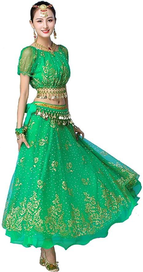 Grouptap Bollywood Verde Indio Mujeres señoras fantasía Anarkali ...