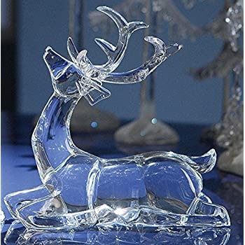 "Pack of 4 Icy Crystal Sitting Deer Decorative Figurines 7.5"""