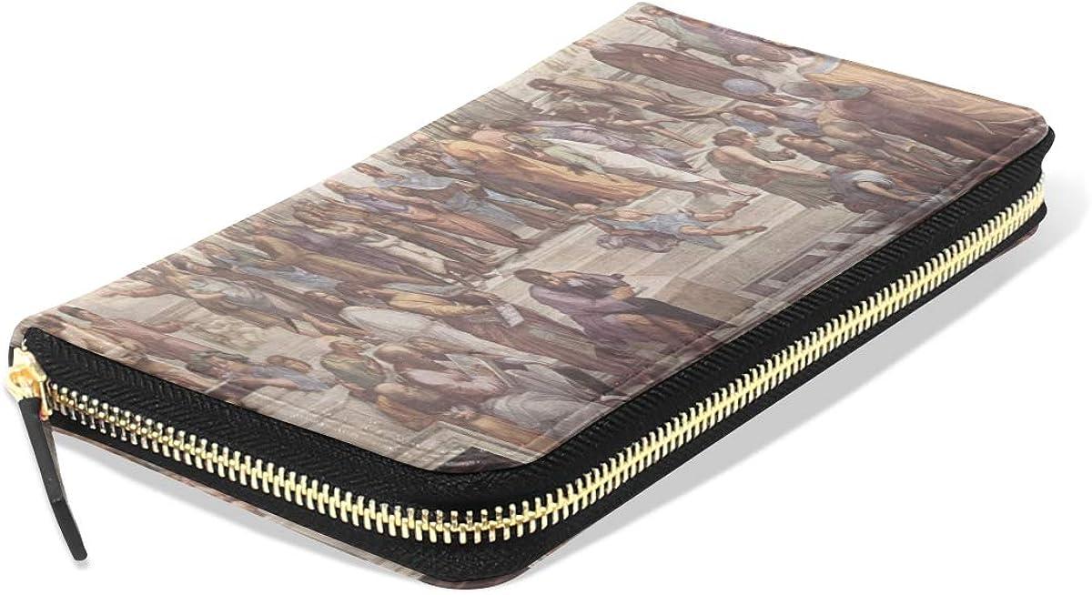 Zipper Wallet For Women Art School Of Athens Rapha毛l Italian Painter Fresco Long Passport Clutch Purses Zipper Wallet Case Handbag Money Bag For Lady Women Girl Long Wallet For Women