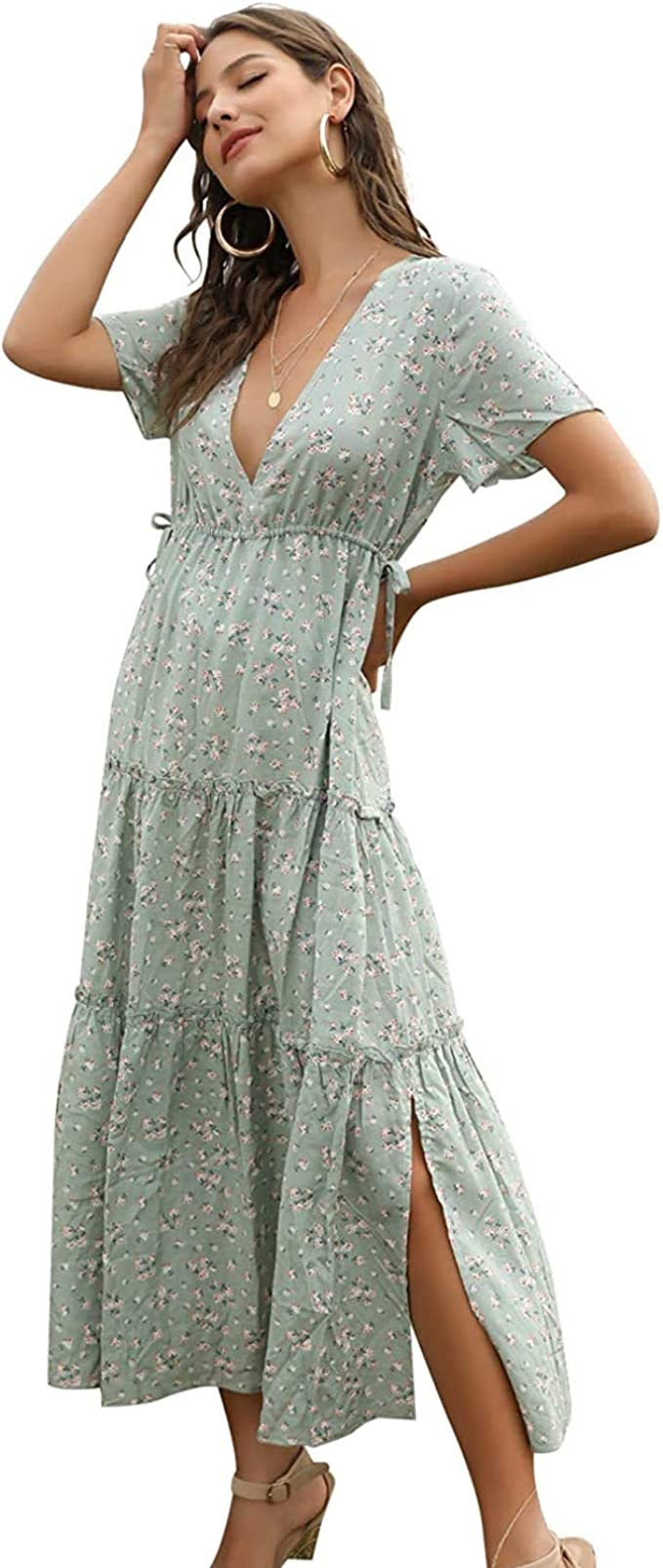 Womens Ladies Holiday Bohemia Printed Loose Flared Short Sleeve Long Shirt Dress
