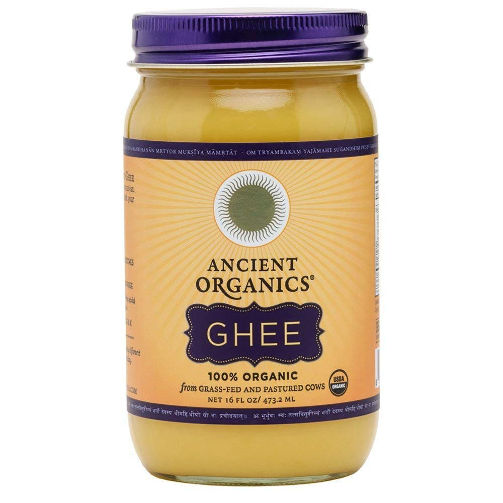 ANCIENT ORGANICS 100% Organic Ghee from Grass-fed Cows, 16oz | Pack of 12