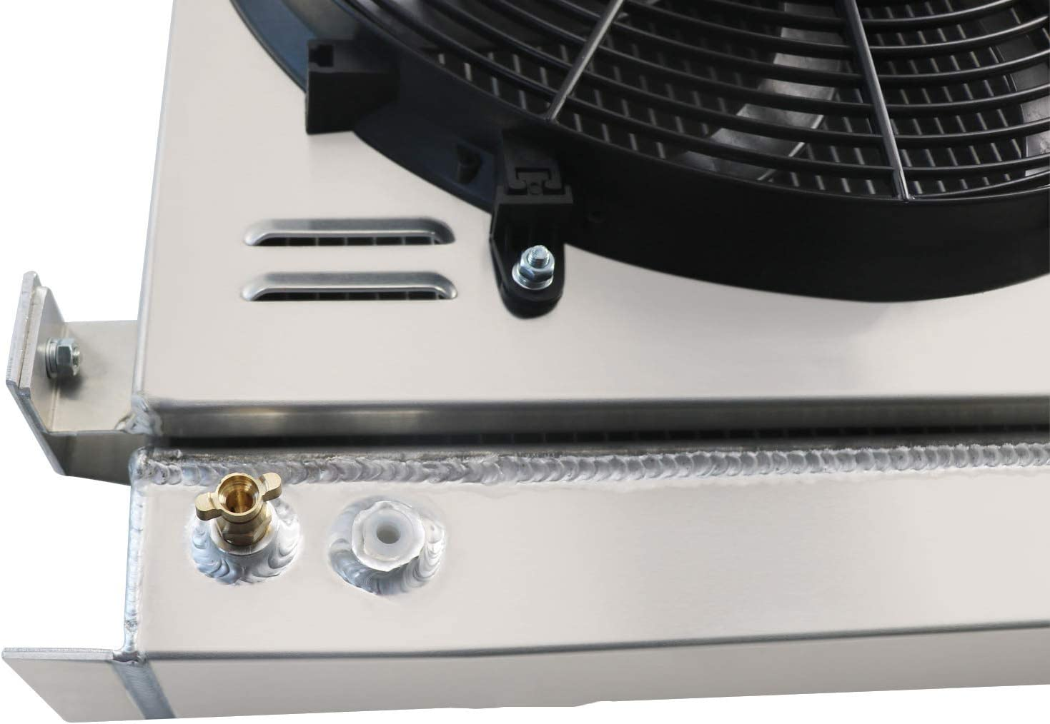 ALLOYWORKS 4 Row Full Aluminum Radiator Shroud Fan For 1930-1938 Ford Model A//B Grill Shells Chevy V8 Engine
