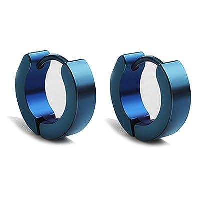 dae69b6af2a1 KNSAM - Hombres Mujeres Aretes de aro Pendientes de Aro de Acero Inoxidable  1 par Azul Curve Diseño   Joyería de Moda    Amazon.es  Joyería