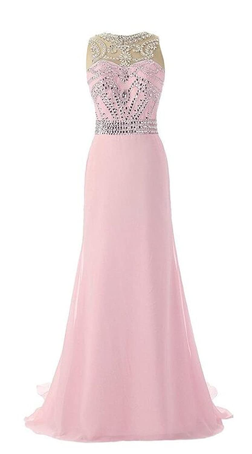 AngelDragon A-Line Rhinestones Tulle Back Evening Gowns Long Prom Dress