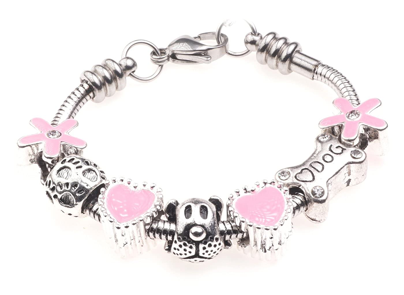 'I Love My Dog' Animal Pet Themed Childrens Charm Bracelet with Gift Box Girls Jewellery Jewellery Hut BRkidsDog