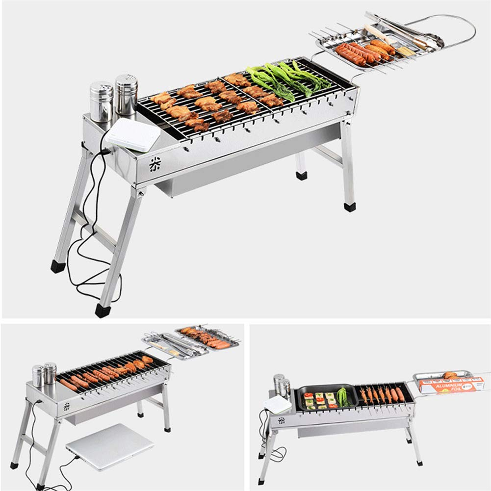 travel Electric Grill Grill Shopps Electric Rotating Grill With Usb Interface Portable Stainless Steel Multi-Function hiking Double Wall Fit camping barbecue