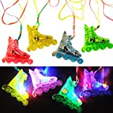 *FLASHING* ROLLER SKATE /Roller Blade TOYS with Necklace: Pack of 24 pcs. Assorted Colors LITE-UP FUN!
