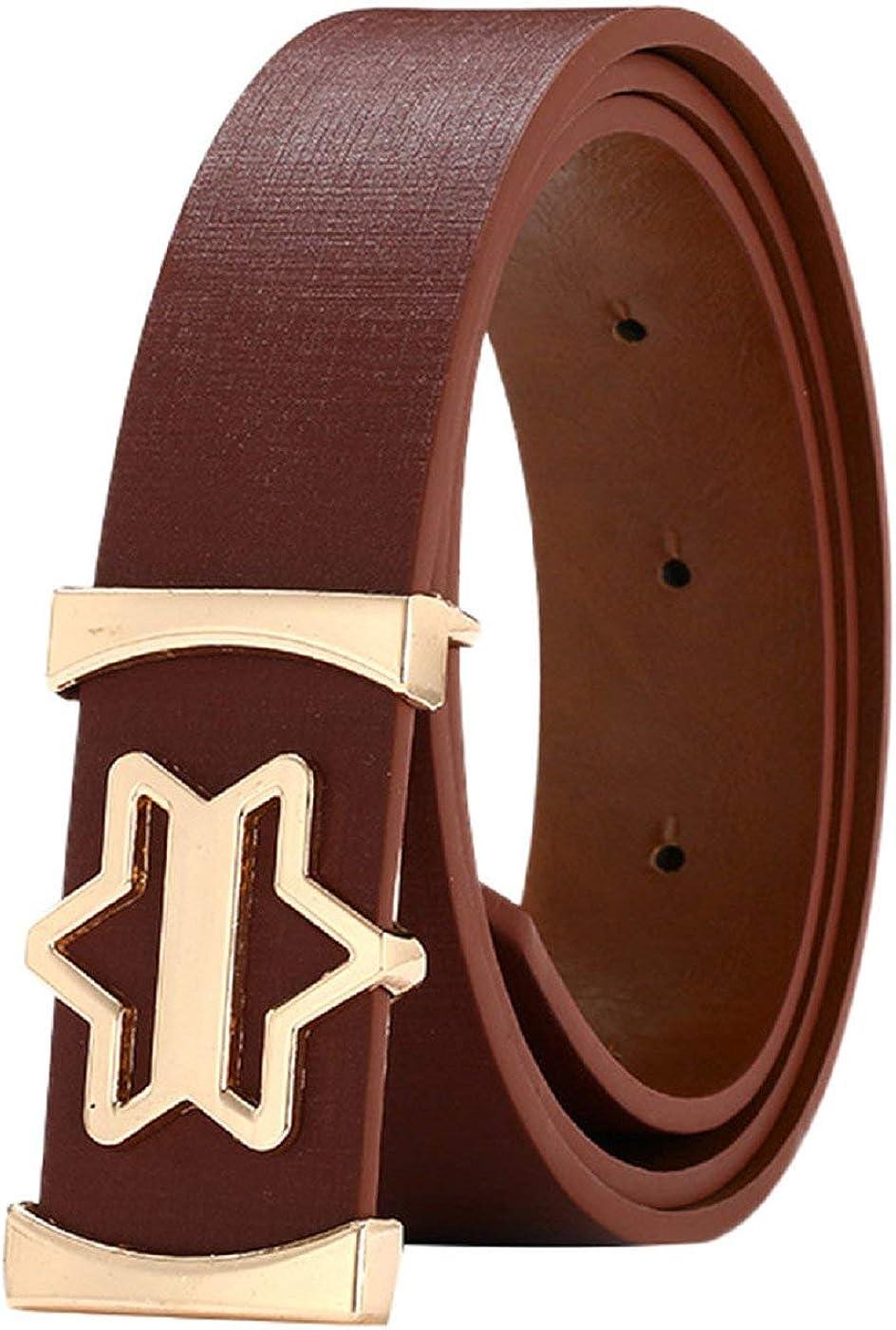 Barlingrock Belt Unisex Womens Smooth Wide Buckle Waist Wide Leather Belts