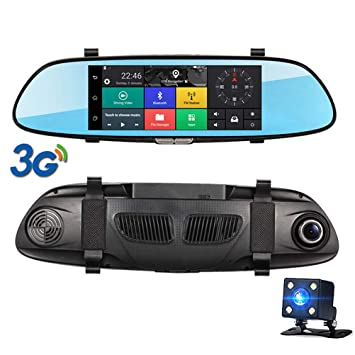 "Coche DVR espejo retrovisor DVR 7""3G táctil IPS GPS Bluetooth Wifi Android 5,"