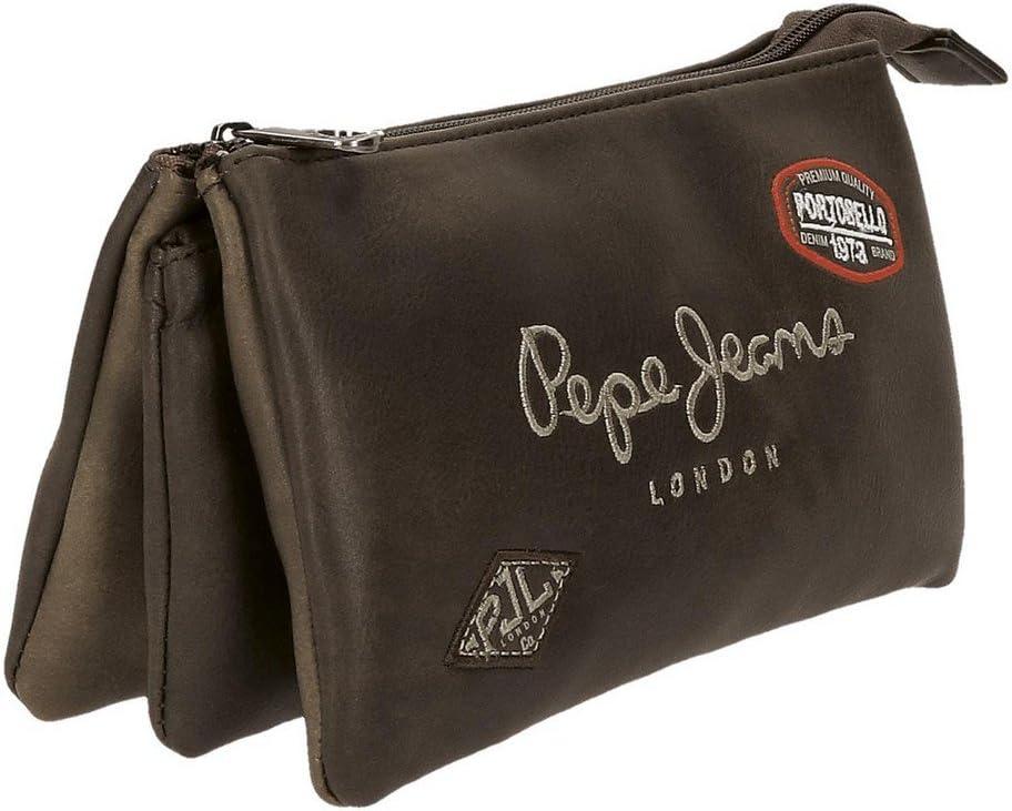 Trousse 3 compartiments Pepe Jeans Duetone Marron