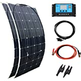 XINPUGUANG 2pcs 100w 18v Solar Panel Semi Flexible 200W Solar Kit System Photovoltaic PV Monocrystalline Module Cell for Yacht RV Car Boat 12v Battery Charger (200W)