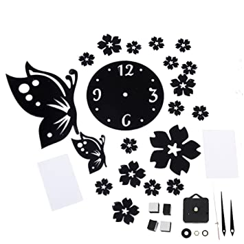 Buy DIY Wall Art Clock Mirror Wall Sticker Home Dcor black
