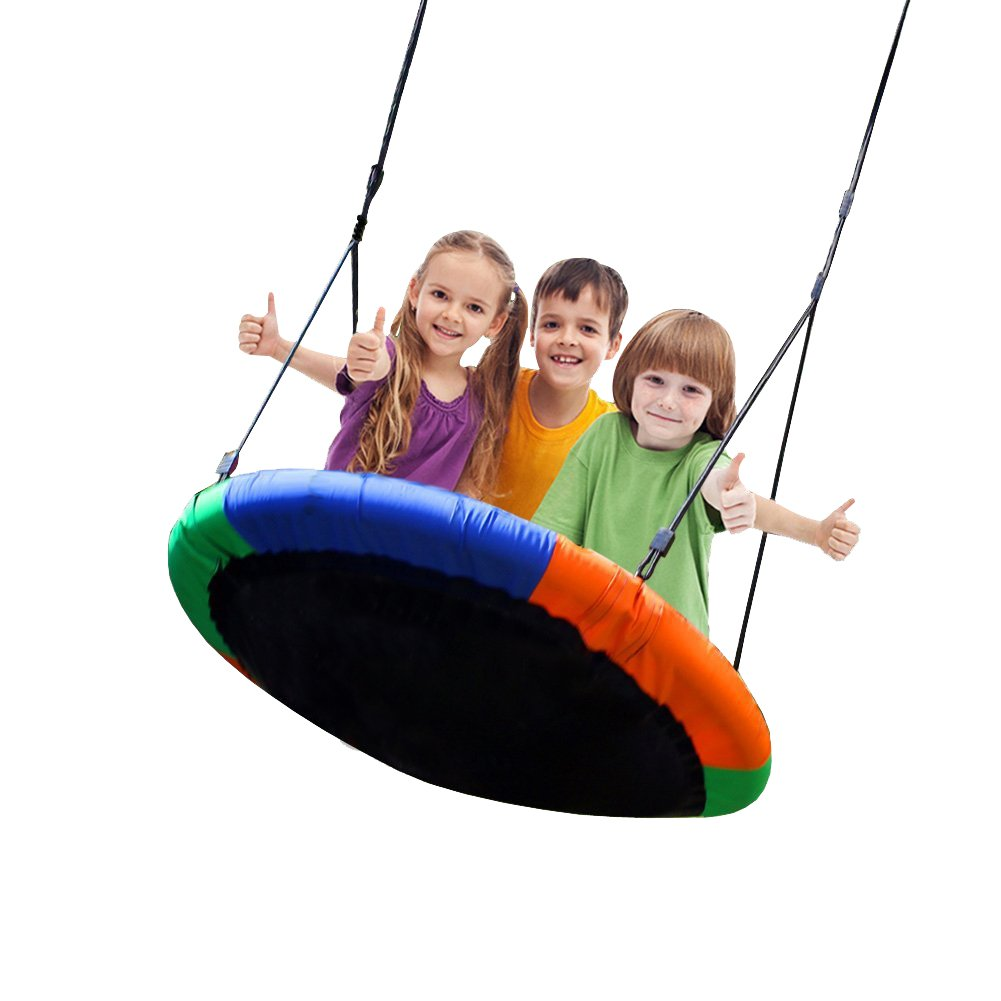 Blue island Tree Swing-Children's Outdoor Large Size 40'' Diameter Durable Swing-Easy Installation
