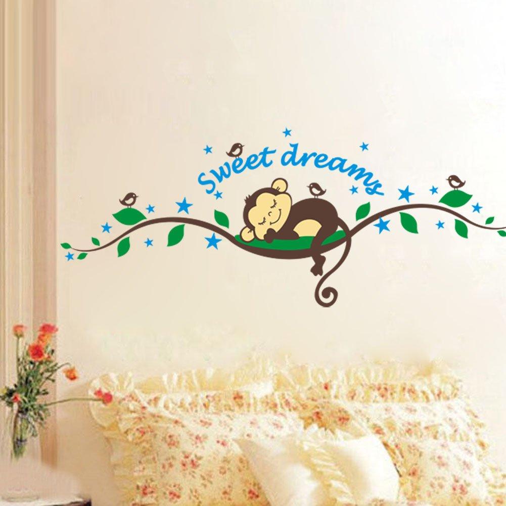 WallStickersDecal Sweet Dream Sleeping Monkey On Tree Vine Wall Decal  Sticker: Amazon.co.uk: Baby Part 13