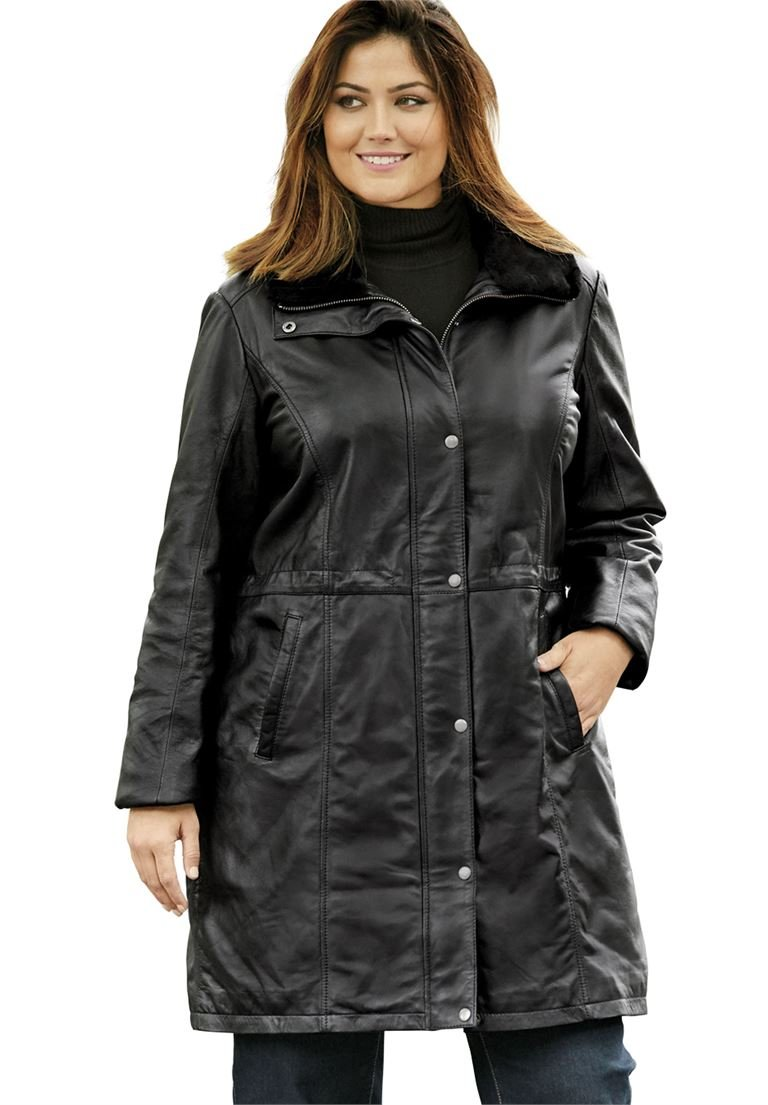 Jessica London Women's Plus Size Leather Anorak Jacket Black,14