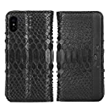 Luxury Wallet Cover For iPhone X - Hand Made from Genuine Python Skin, Premium Case by Trop Saint - Black