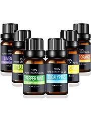 Aceites Esenciales de Aromaterapia - Pesoo 100% de Aceite Esencial Natural Conjunto de Difusores y Humidificadores con Caja de Regalo Exquisita (Lavanda, Árbol de Té, Eucalipto, Hierba de Limón, Naranja, Menta Incluida, 6 x 10 ML)