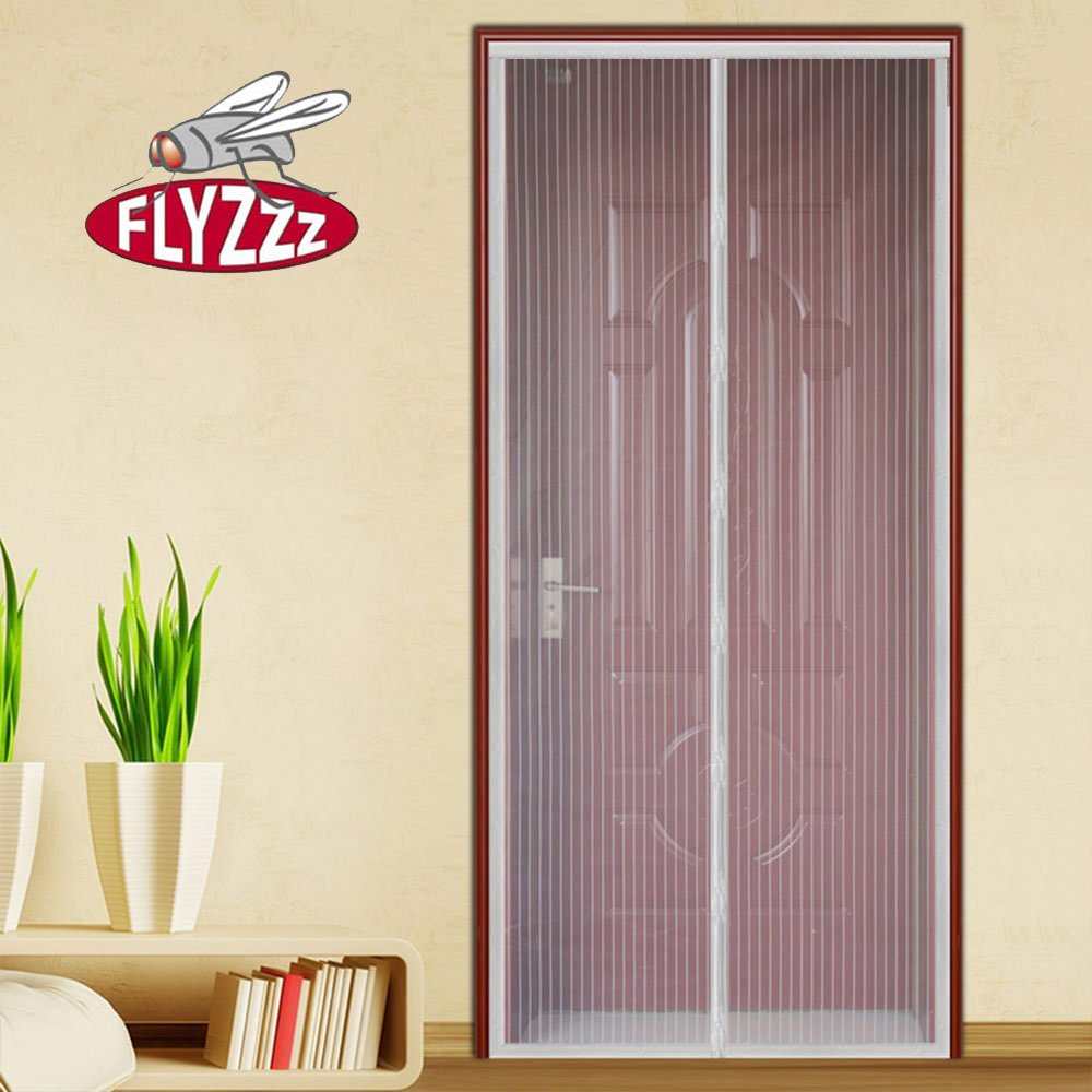 Magnetic Net Mosquito and Bug Screen Door,Keeps Fresh Air In Fits Doors Up to 35x90 Inches Max,White Flyzzz Magnet Pieces Closing Screen Door with Mesh Curtain