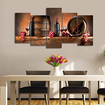 Cao Gen Decor Art K60527 5 Panels Wall Fruit Grape Red Wine Glass Painting