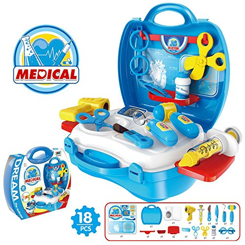 [Pretend Play Game Doctor Medical Care Box Set Children Simulation Toys Learning Education Adorable For Kids Include 18 pcs] (Play On Words Costume Ideas Of Halloween)
