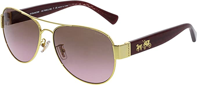 c8ab4237874 Coach Womens L138 Sunglasses (HC7059) Gold Brown Metal - Non-Polarized -