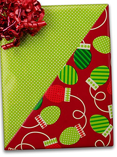 24'' X 100' #x6332 Christmas Bulbs (Rever) - Gift Wrap by Paper Mart